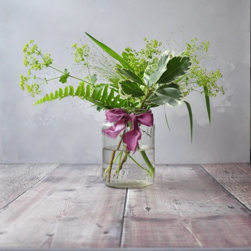 Step four in our jam jar tutorial - fill your vases with greenery! If you want to read all about our DIY jam jar flower tutorial head over to the blog www.greenparlour.com/diy-inspiration/jam-jar-flower-tutorial