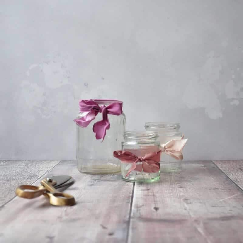 Step three in our jam jar tutorial - decorate your vases! If you want to read all about our DIY jam jar flower tutorial head over to the blog www.greenparlour.com/diy-inspiration/jam-jar-flower-tutorial